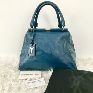 YSL Sac Majorelle in Blue Patent Leather